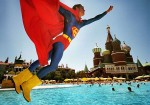 Turkey; Antalya; Lara Beach; World of Wonders, Kremlin Palace; Animator dressed as Superman