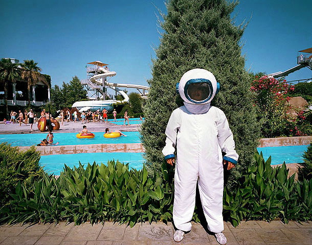 Turkey; Antalya; Lara Beach; World of Wonders, Hotel Topkapi Palace; Animator dressed as astronaut