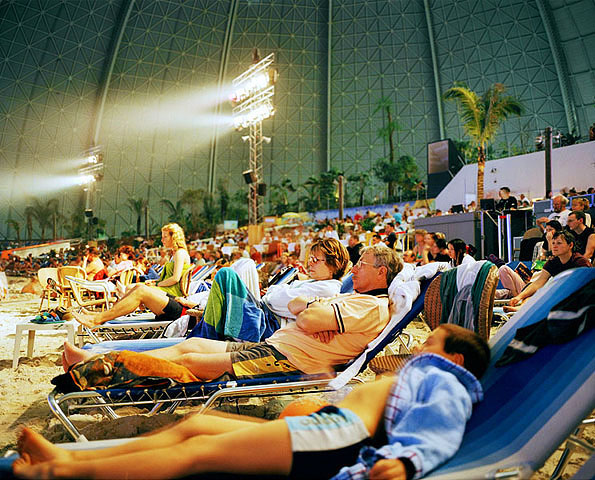 "Germany; Indoor Pool ""Tropical Islands"" in Berlin Brandenburg; Tourist watching the evening show"